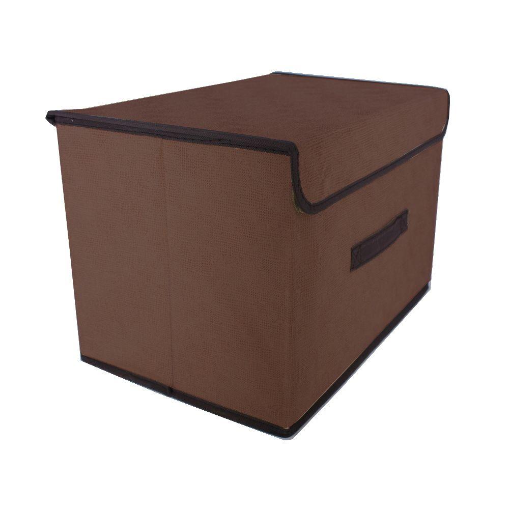 Caixa Organizadora Tnt Dobrável Multiuso  Marrom 37x24x24cm