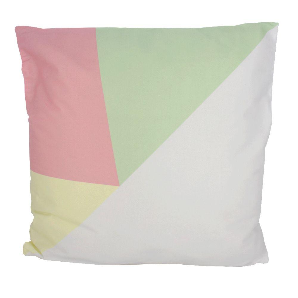 Capa para Almofada 43x43cm Rosa Verde Amarelo e Branco  - Shop Ud