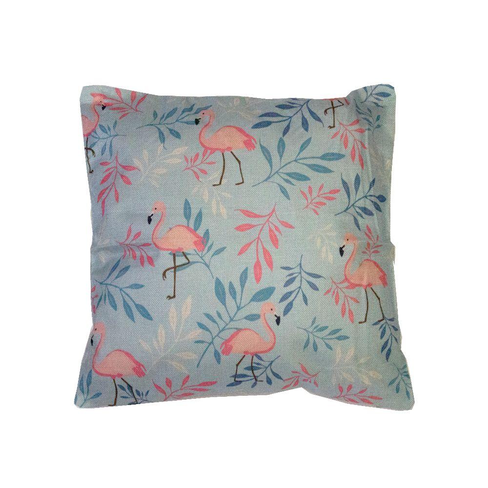 Capa para Almofada - Flamingos (Fundo Azul) - 43cm x 43cm  - Shop Ud