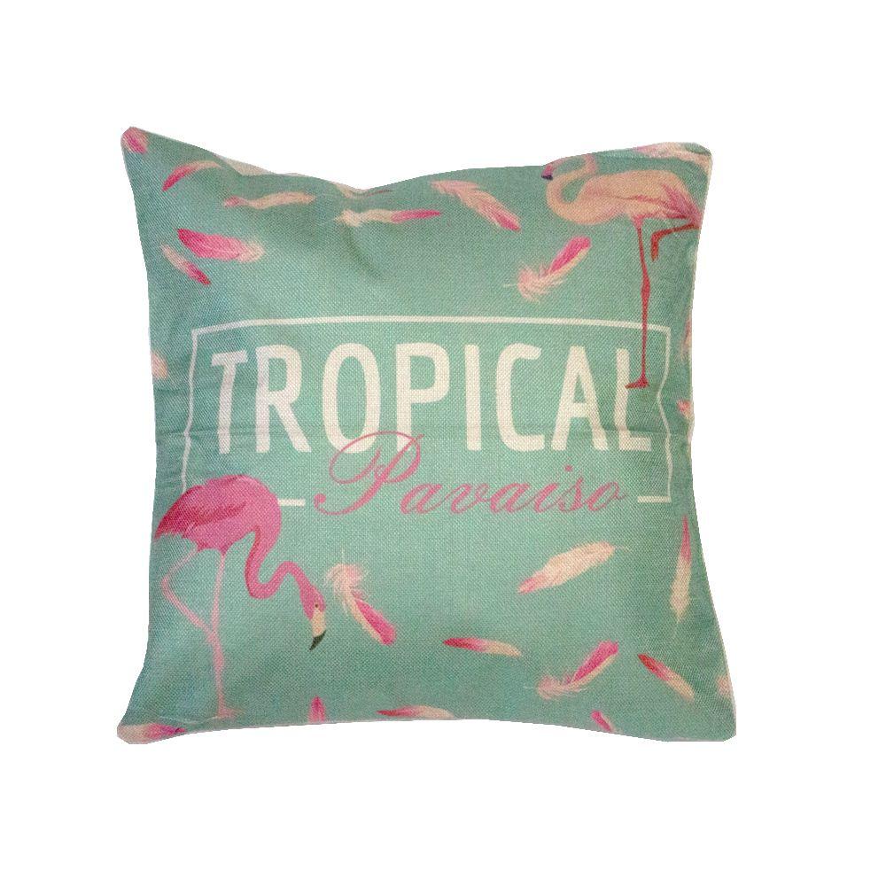 Capa para Almofada - Tropical Paraiso Flamingo - 43cm x 43cm  - Shop Ud