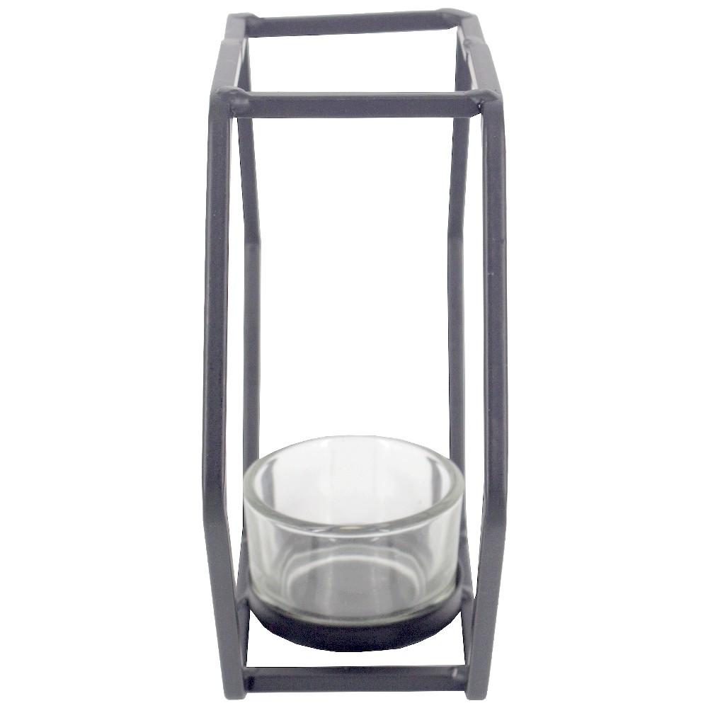Castiçal para Velas com 01 Compartimento - Preto - Hexágonal  - Shop Ud