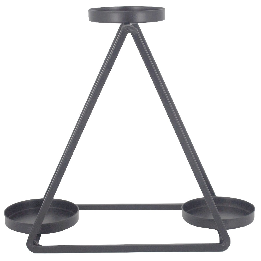 Castiçal para Velas com 03 Compartimentos - Preto - Triângulo  - Shop Ud