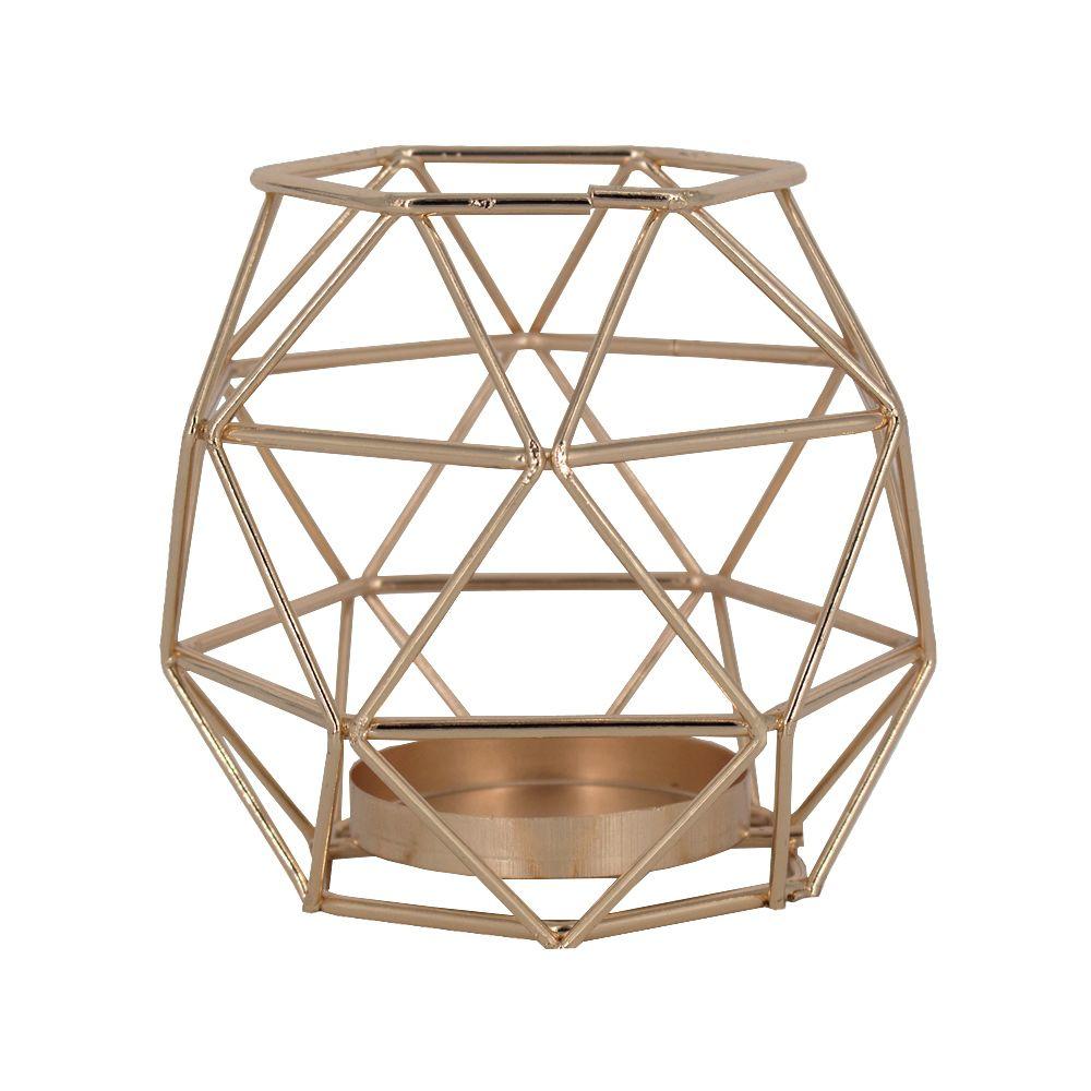 Castiçal para Velas - Oval Geométrico - Dourado  - Shop Ud