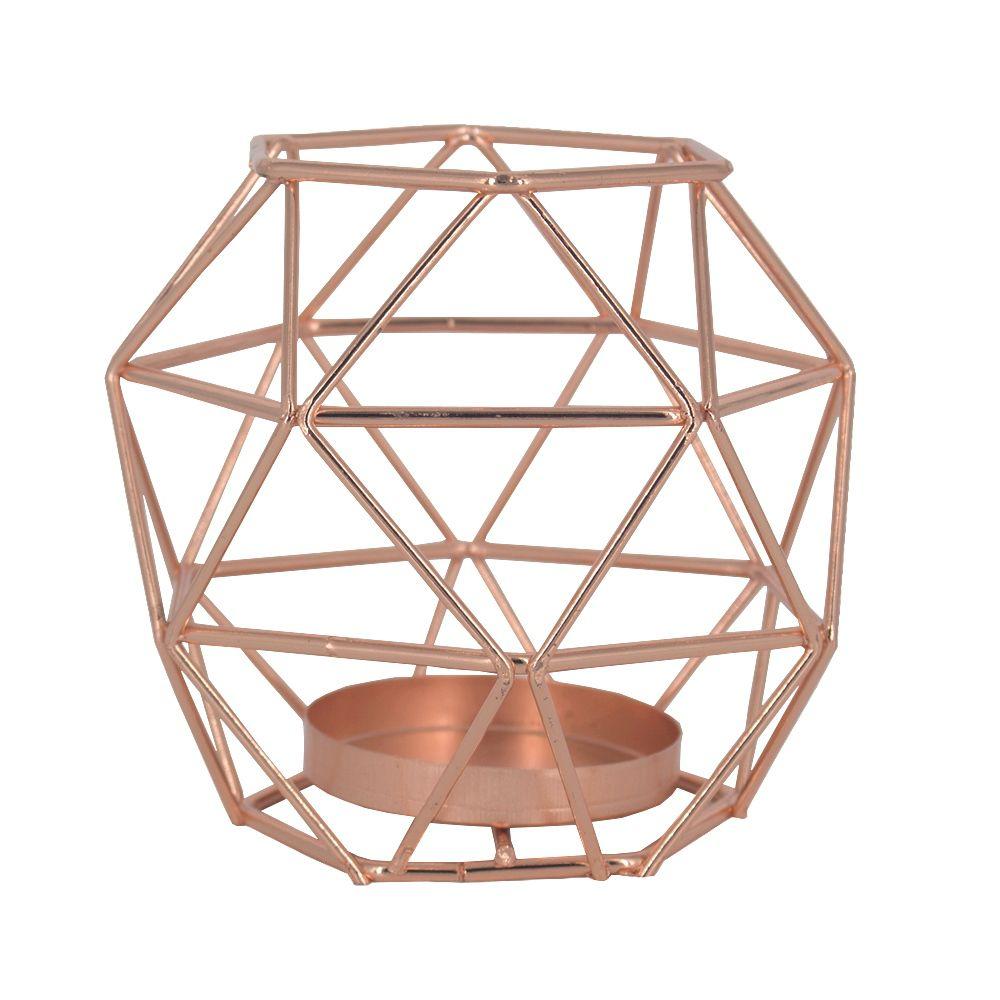 Castiçal para Velas - Oval Geométrico - Rose Gold  - Shop Ud