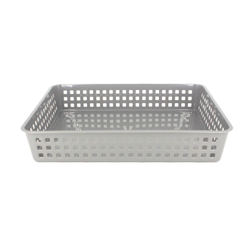 Cesto Multiuso Organizador - Cinza - 33cm x 24,7cm x 6cm  - Shop Ud
