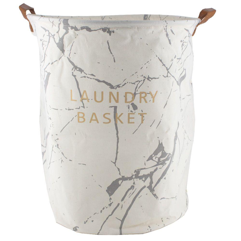 Cesto Organizador  Alças de Couro  40x50 - Laundry Bege Cinza
