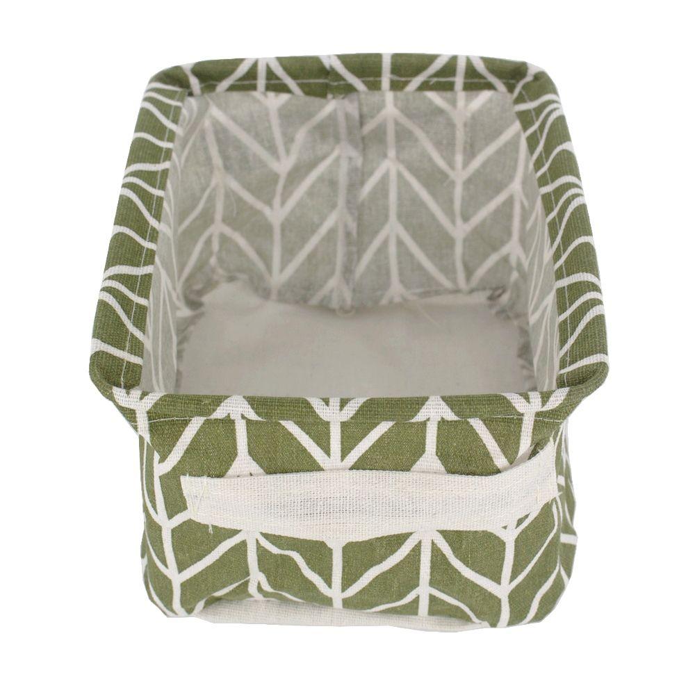 Cesto Pequeno Organizador Multiuso Tecido Verde Linhas Vert.  - Shop Ud