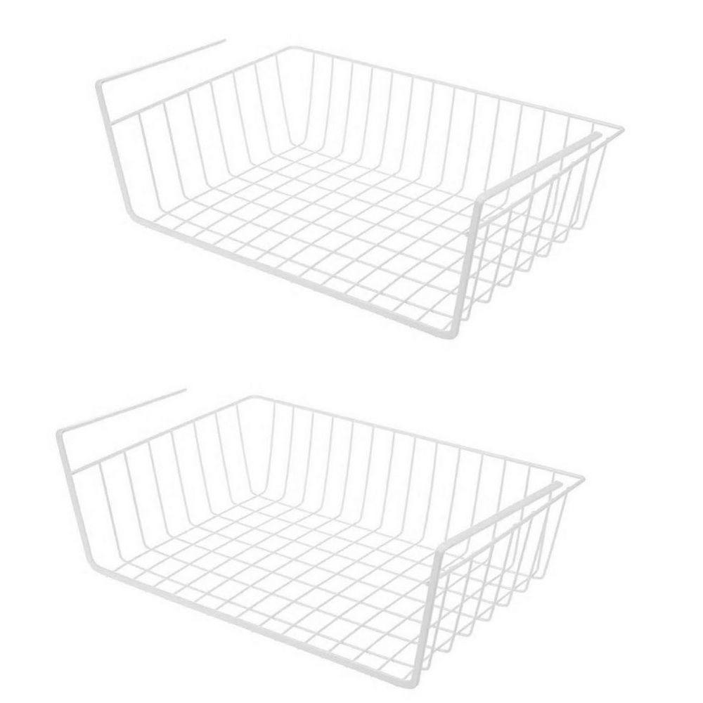 Kit com 02 Cesto Suspenso Prateleira Organizadora Multifuncional - Branco