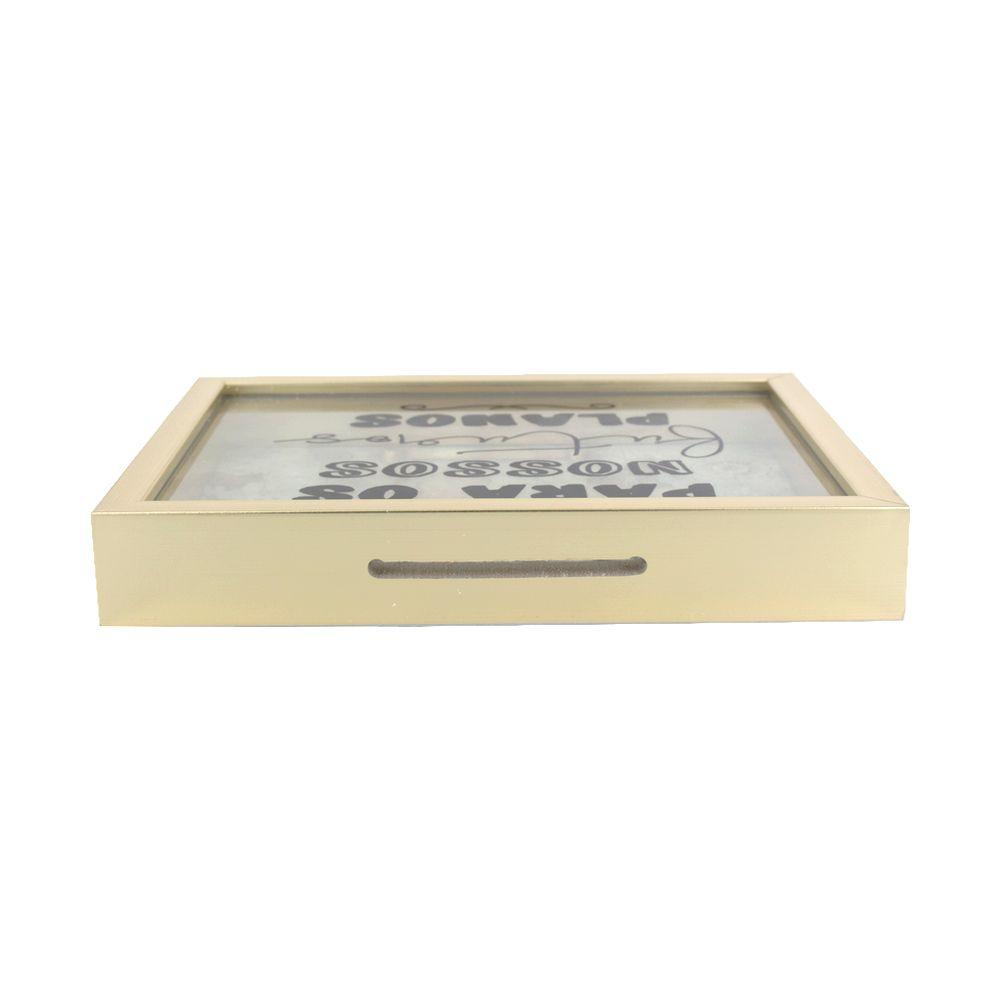 Cofre Dourado com Vidro - Para os nossos futuros planos  - Shop Ud