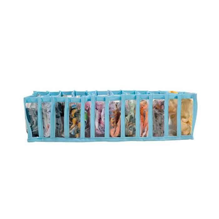 Colméia Organizadora de Gavetas (para cuecas, calcinhas e meias) Transp Viés Azul 11 Nichos 4 unidades  - Shop Ud