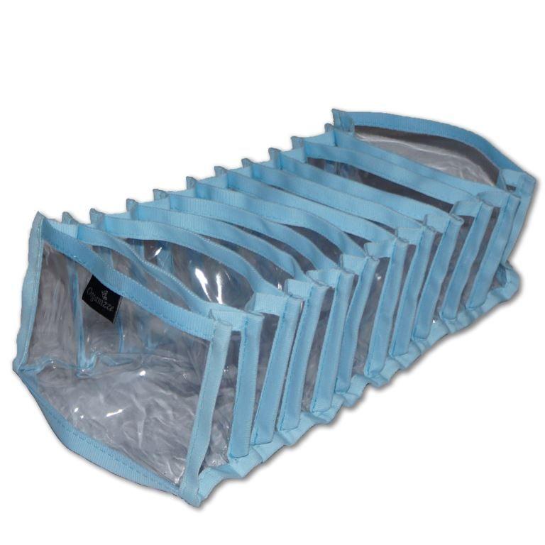 Colméia Organizadora de Gavetas Transparente com Viés Azul 11 Nichos com 4 unidades  - Shop Ud