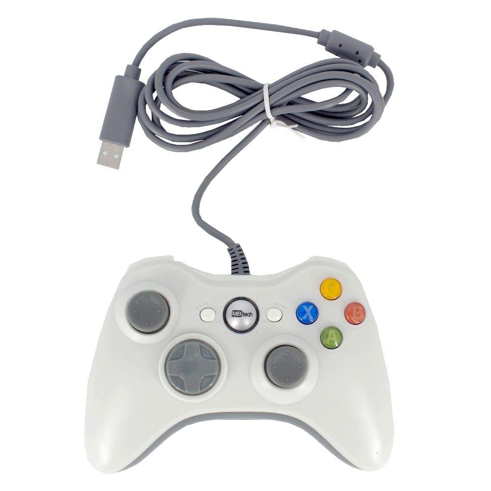 Controle Com Fio USB Joystick Compatível Xbox 360 - Branco