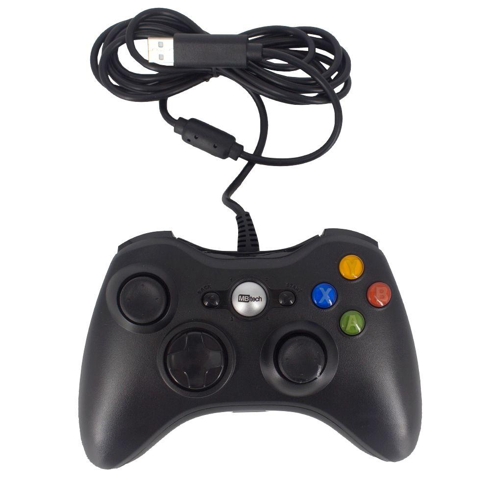 Controle Com Fio USB Joystick Compatível Xbox 360 - Preto