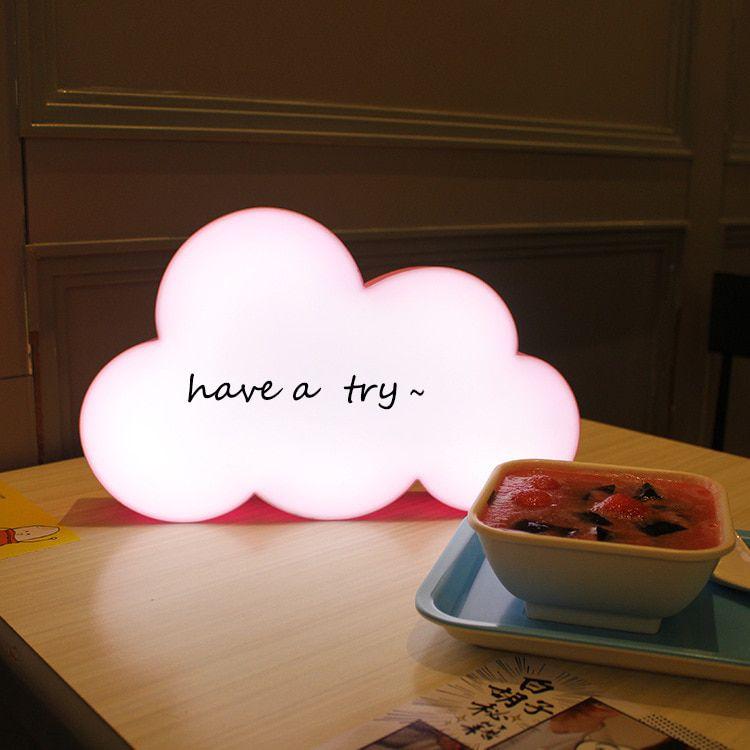 Luminária Nuvem Escrever Light Box Porta Recado +3 Canetas- Rosa  - Shop Ud