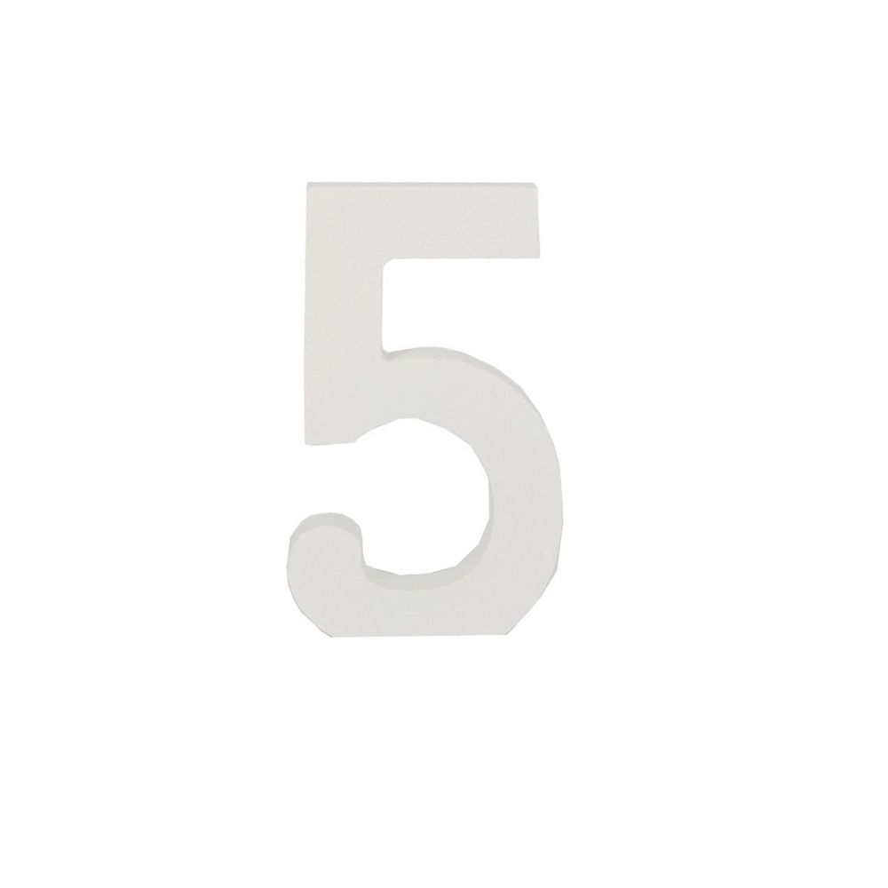 Número Decorativo em MDF – Número 5 (Branca)  - Shop Ud