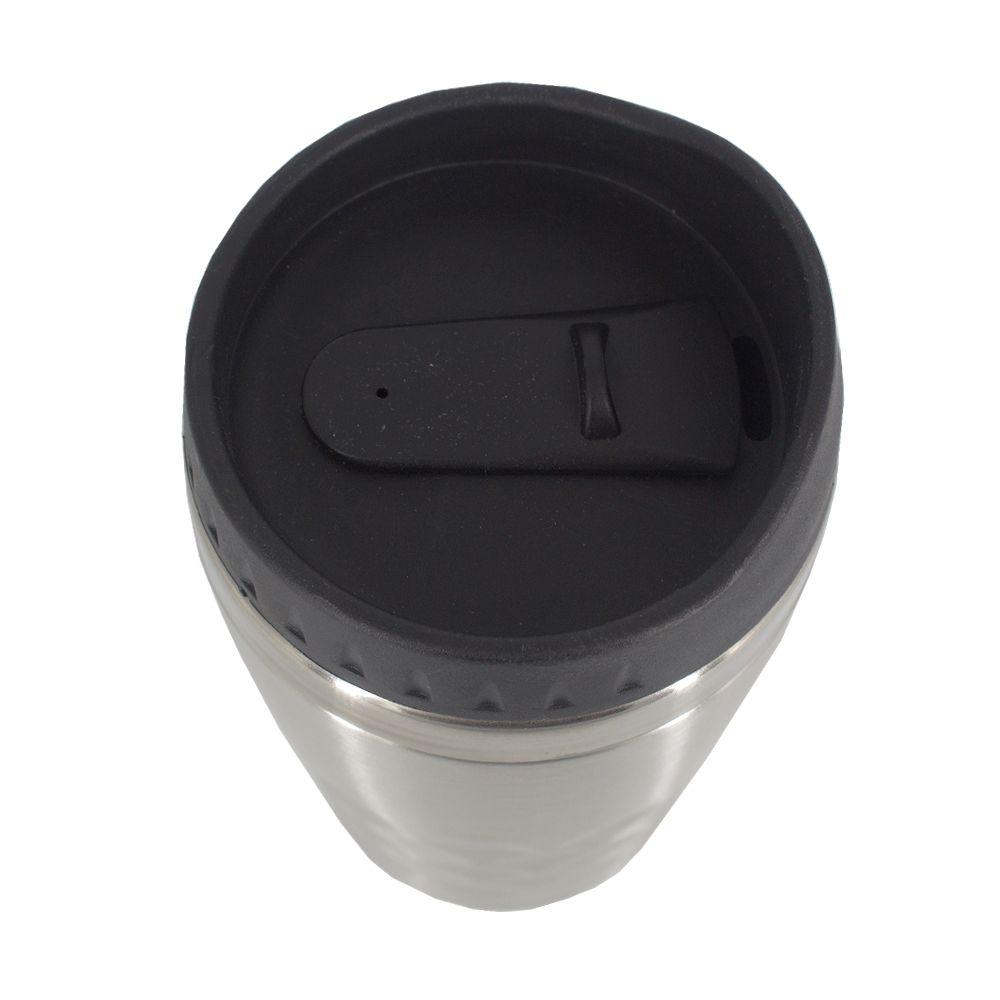 Copo Térmico Aço Inox Café Chá Leite 350 ML Prata e Preto  - Shop Ud