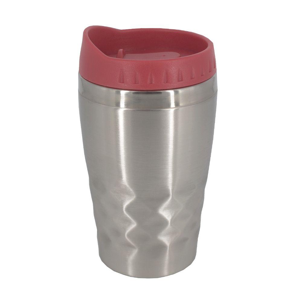 Copo Térmico Aço Inox  Café Chá Leite 350 ML Prata e Vermelho