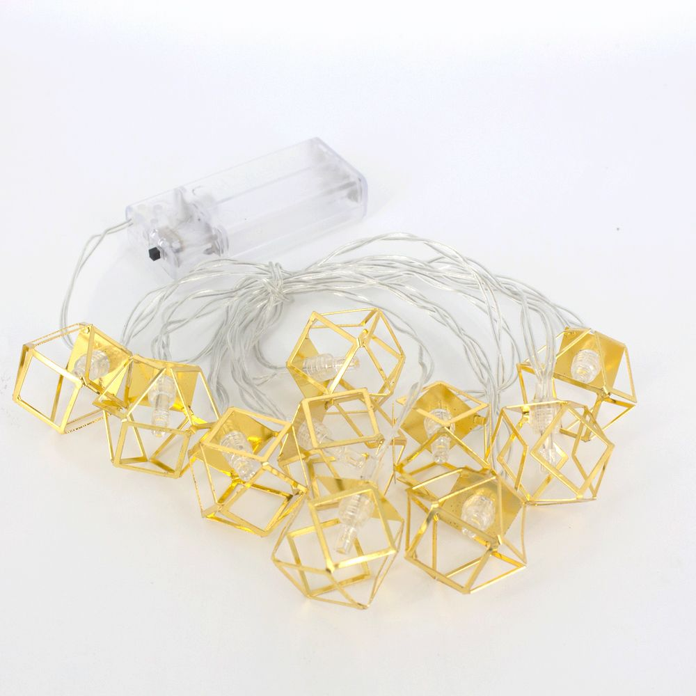 Cordão com 10 Cubos geométrico 2m à Pilha - Dourado