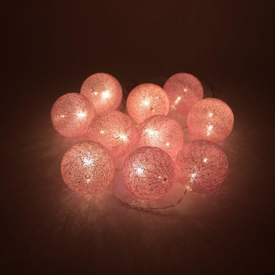 Cordão de luz de LED 10 Bolinhas Rosa a pilha  - Shop Ud