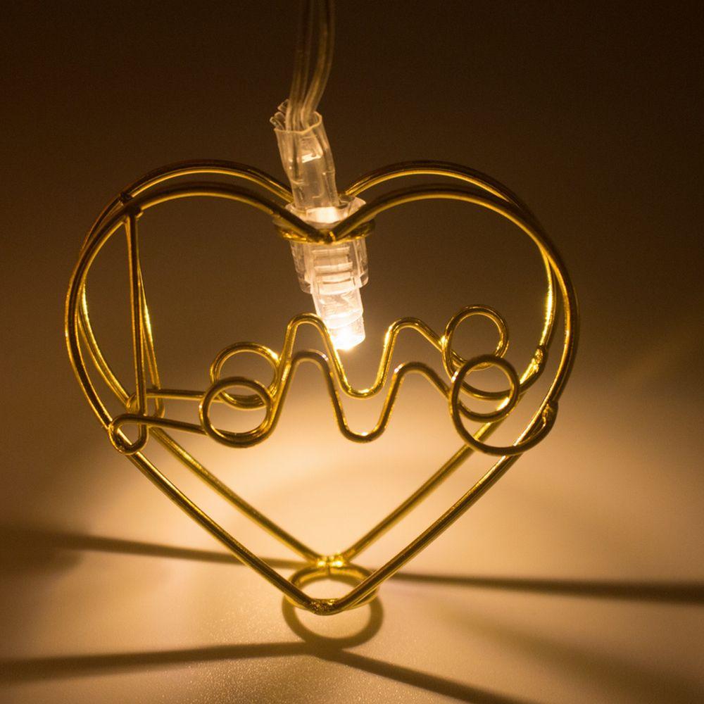 Cordão de LED 10 Coração LOVE Dourado