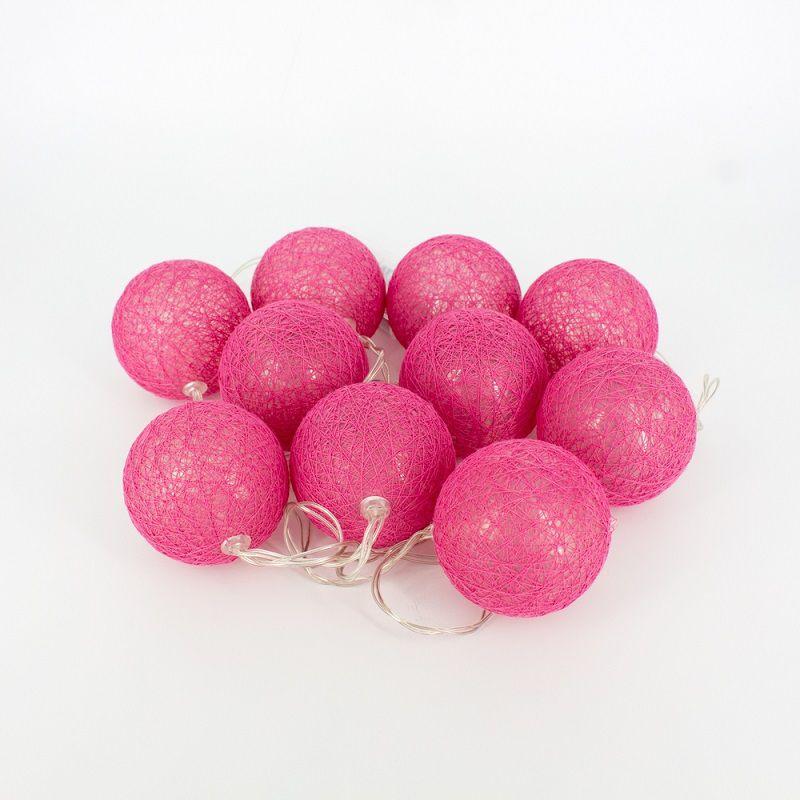 Cordão de Luz de LED 10 Bolinhas a Pilha Pink