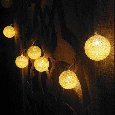 Cordão de Luz de LED 10 Bolinhas LISA a Pilha Amarelo  - Shop Ud
