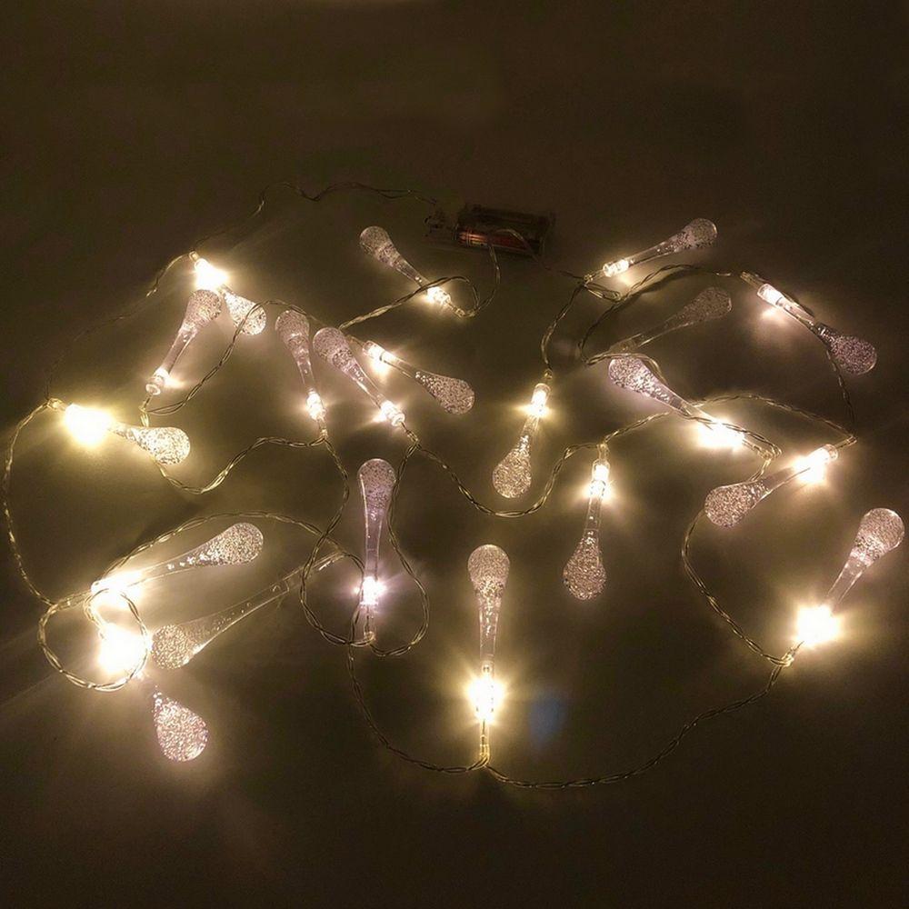 Cordão de Luz de LED à Pilha com 20 Pingos Cristalinos
