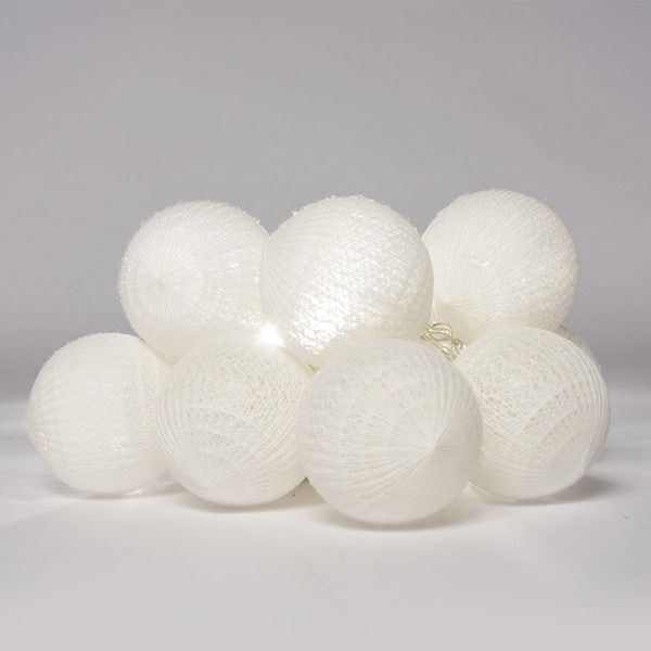 Cordão Fio de LuzLuminária branca com 10 Bolas de 5cm cada  - Shop Ud