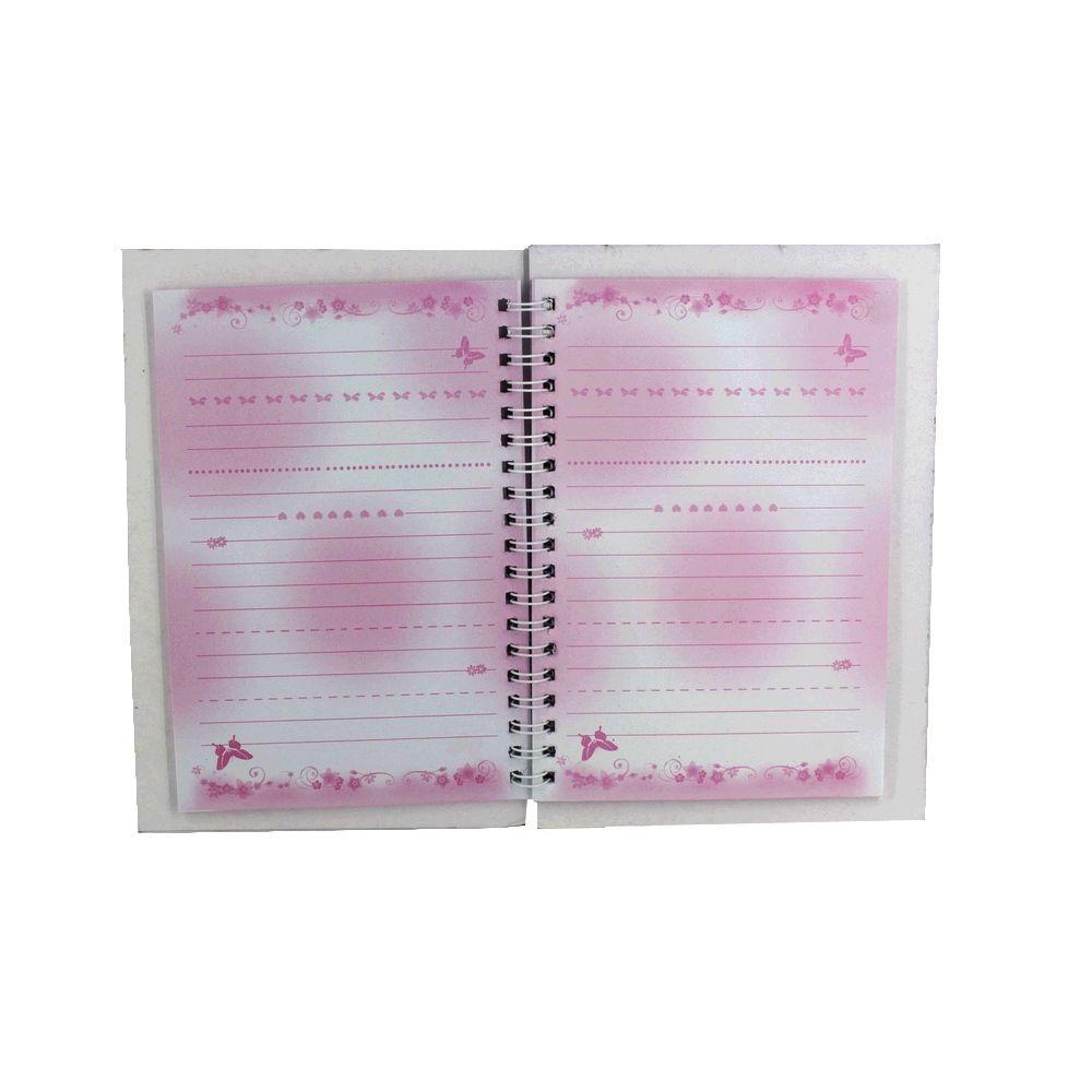 Diário com Cadeado - Borboleta e Flores - Rosa Pink  - Shop Ud