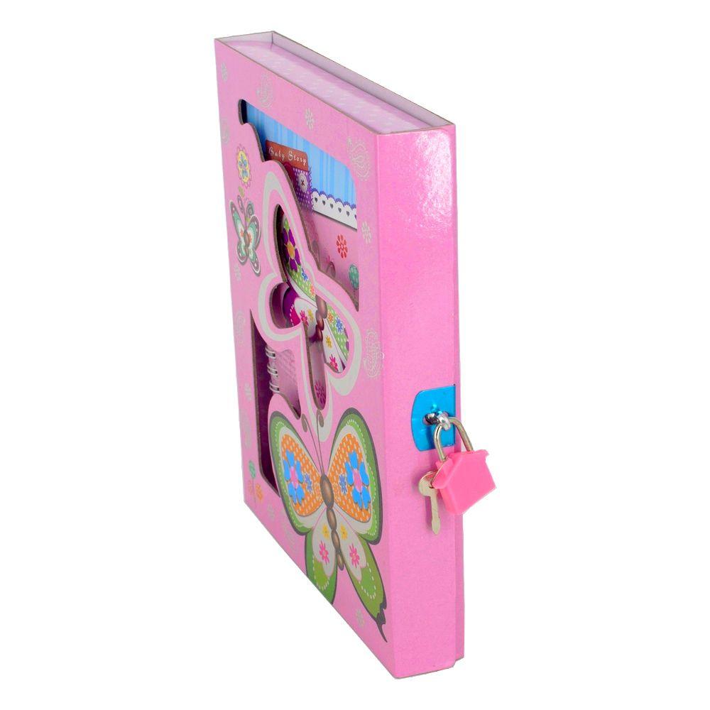 Diário com Cadeado - Borboletas - Rosa Claro  - Shop Ud
