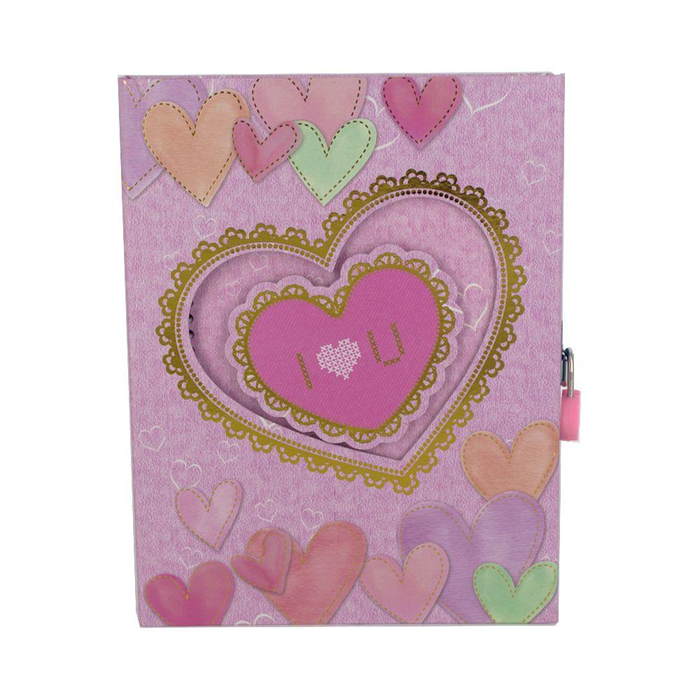 Diário com Cadeado - Coração (I LOVE YOU) - Rosa Claro  - Shop Ud