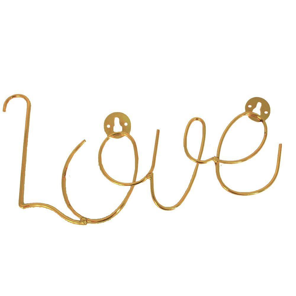 Enfeite Decorativo em Metal - Dourado - LOVE