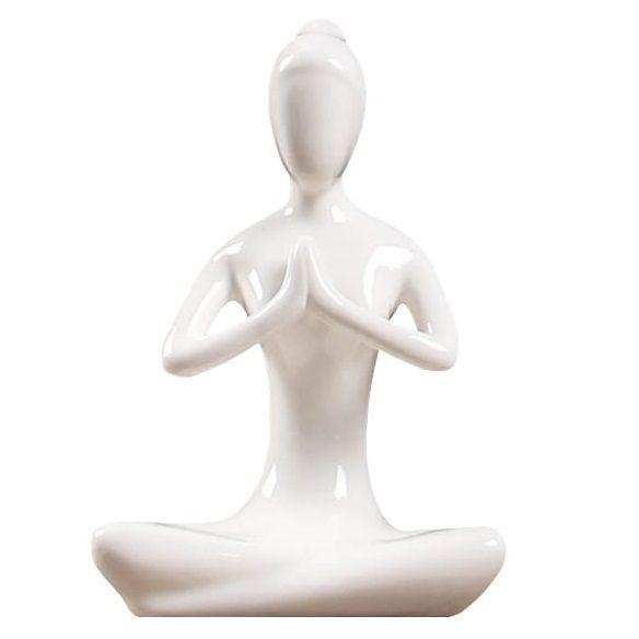 Escultura Yoga em Porcelana - Branco - Oração (11cm)  - Shop Ud
