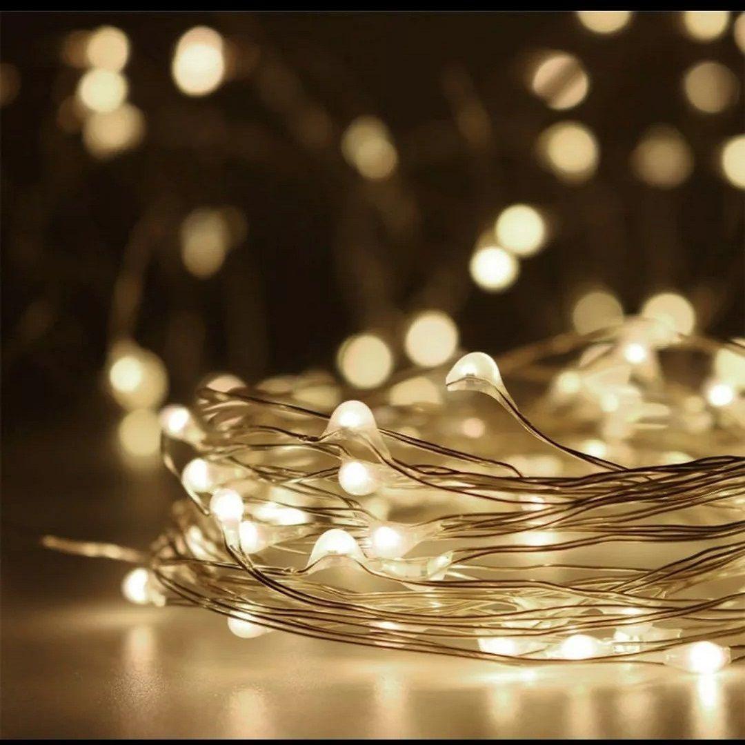 Fio Cobre Cordão Luz Fada 5m 50 Leds a Pilhas
