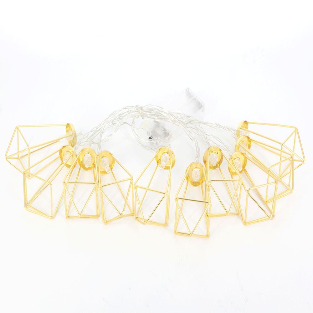 Fio de Fada Varal De Luz Led Geométrico 2 m Dourado
