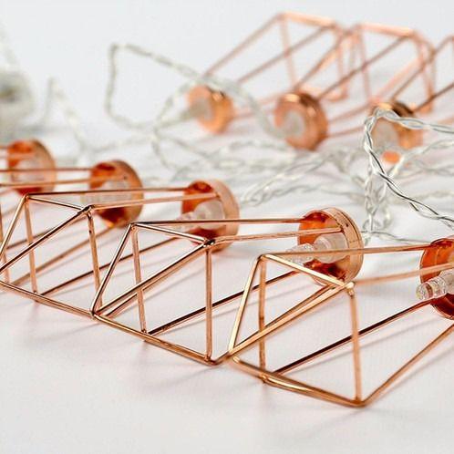 Fio Fada Varal De Luz Led Geométrico 2 Metros Rose Gold   - Shop Ud