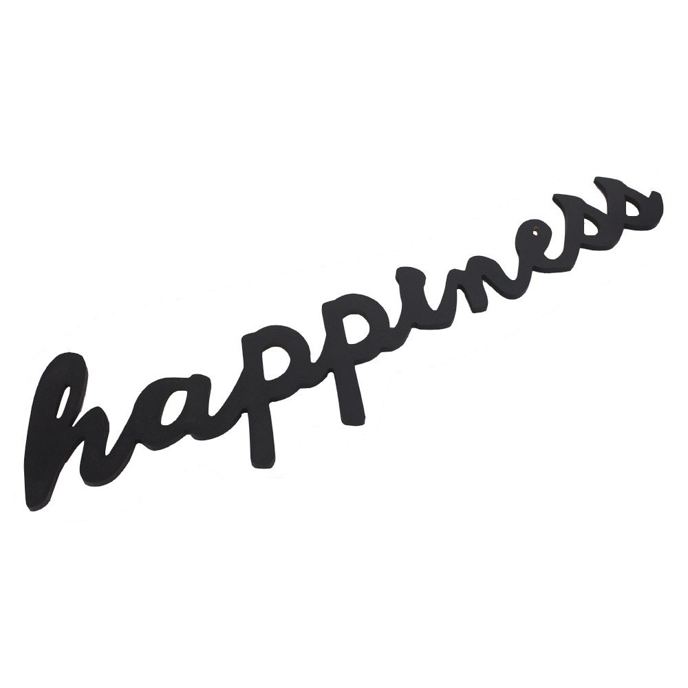 Frase Decorativa em MDF Preto - Happiness  - Shop Ud