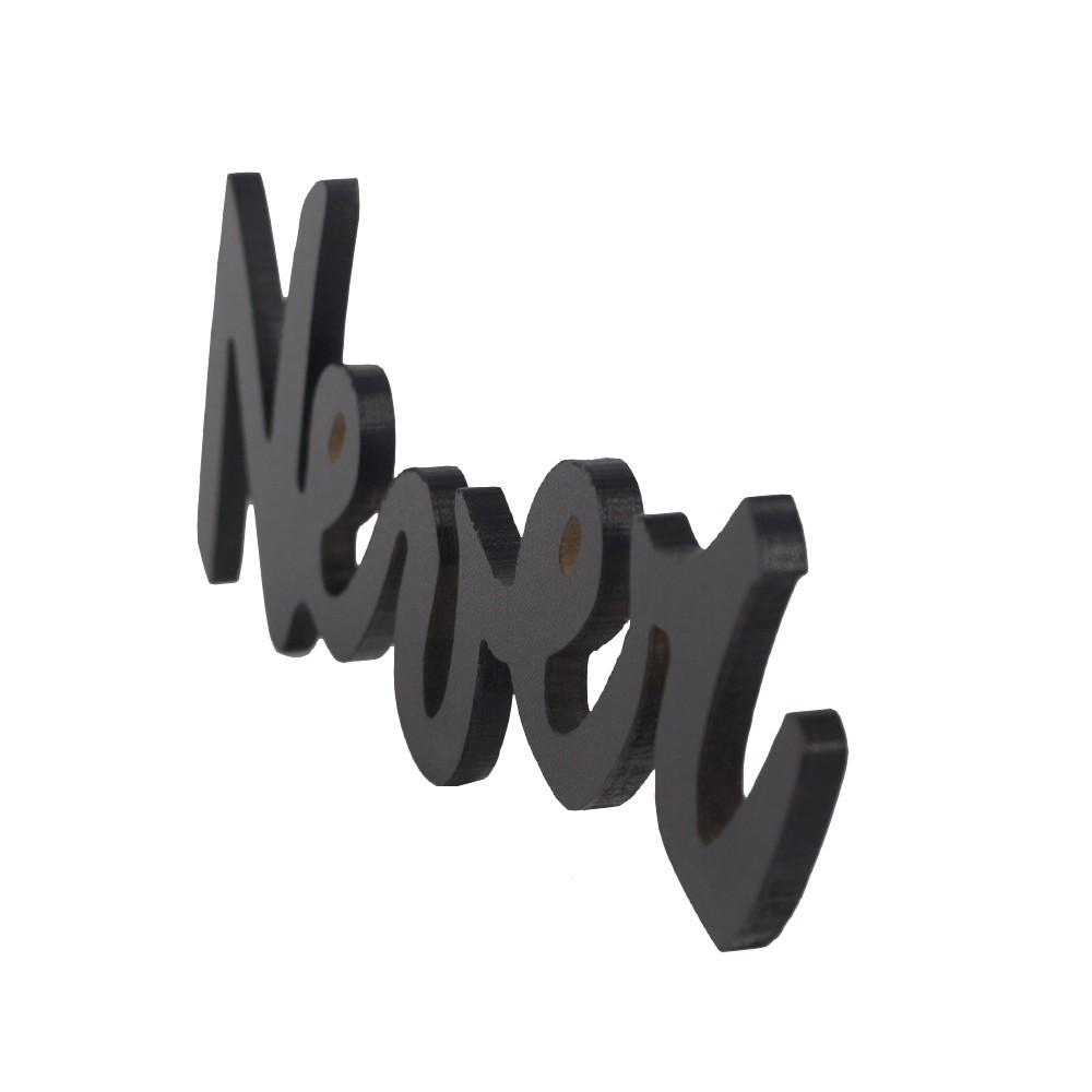 Frase Decorativa em MDF Preto - Never Give Up  - Shop Ud