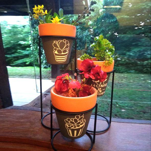 Kit 3 Vasos Cerâmica com Suporte  - Shop Ud