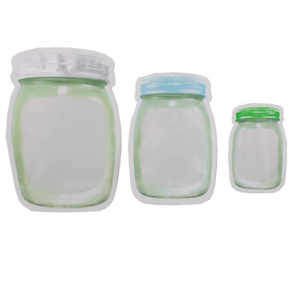 Kit 03 Sacos Hermético Reutilizável Abre Fecha Verde e Azul