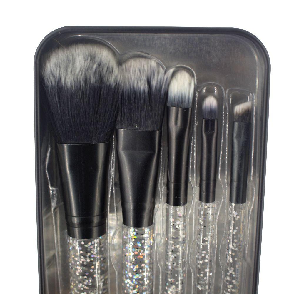 Kit 05 Pincéis Maquiagem - Preto com Glitter Prata  - Shop Ud