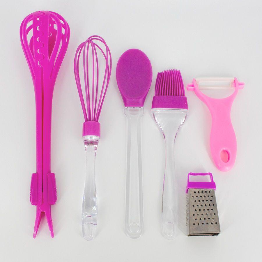 Kit 06 Utensílios de Cozinha - Rosa  - Shop Ud