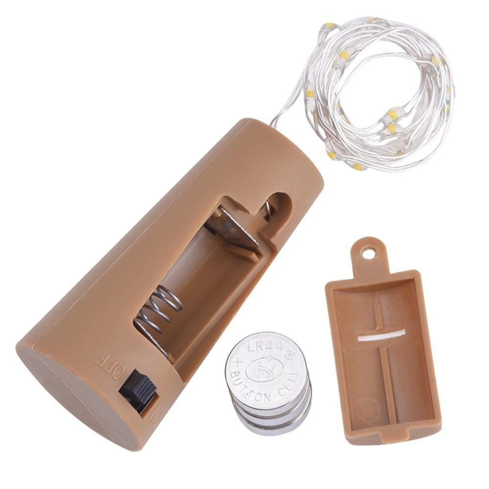 Kit 20 Fio Luz de Fada em Rolha de Garrafa 2 metros - Cores variadas