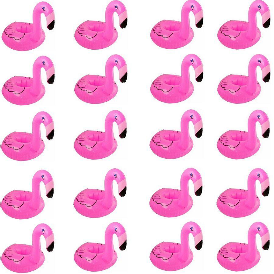 Kit 20 Porta Copos Boia Inflável Flamingo