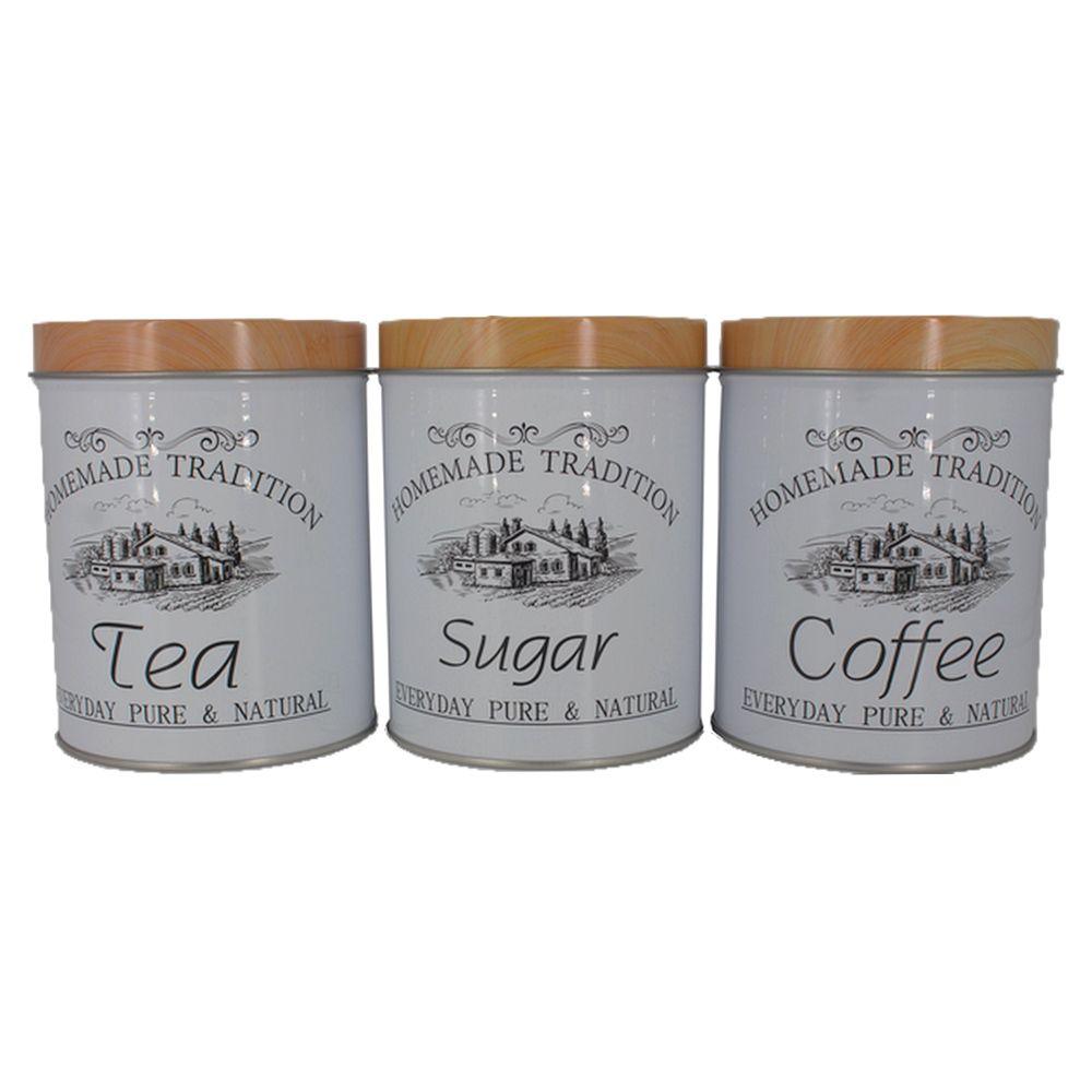 Kit 3 Potes Mantimentos Açúcar Chá  Café Lata Branca Rústica  - Shop Ud