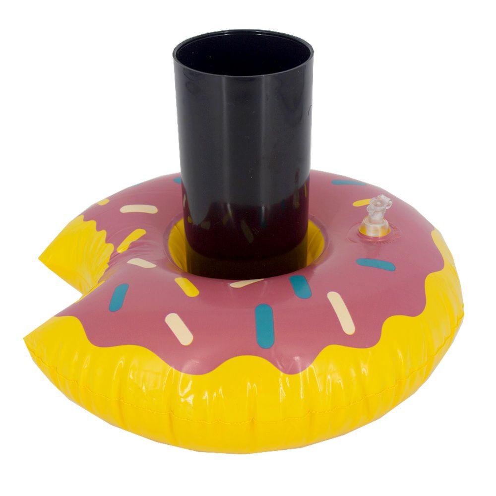 Kit 40 Boias Porta Copo Inflável - Rosquinha Donut Morango  - Shop Ud