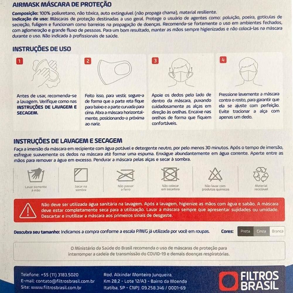 Kit 6 Máscaras Proteção Facial AirMask Lavável Reutilizável Alta Tecnologia Cinza M  - Shop Ud