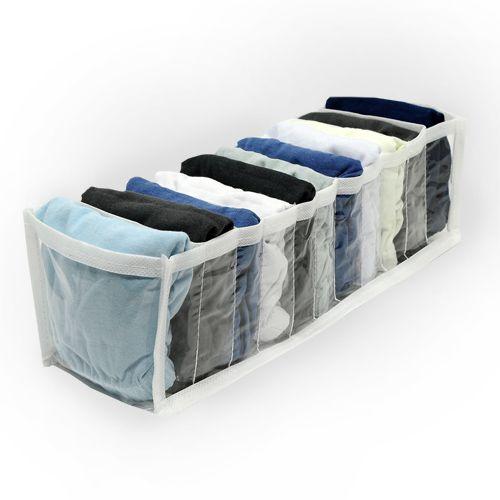 Kit 6 Organizadores calcinhas, meias, cuecas transparente viés branco