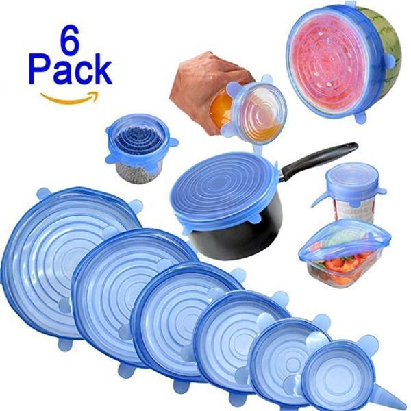 Kit 6 Super Tampas de Potes de Silicone Universal - Azul  - Shop Ud
