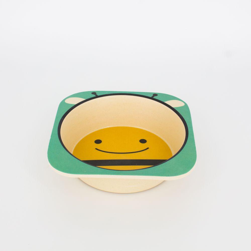 Kit Alimentação Infantil Abelhinha em Fibra De Bambu 5 Pçs   - Shop Ud